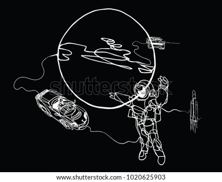 Astronaut Spacesuit Planet Spacecraft Car Cabriolet Stock Vector
