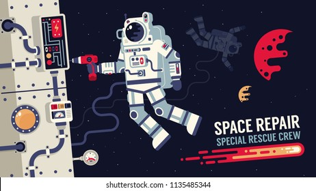 Astronaut in  spacesuit repair a spaceship in outer space - Illustration of flat design.