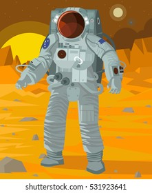 astronaut in a spacesuit walking on mars surface