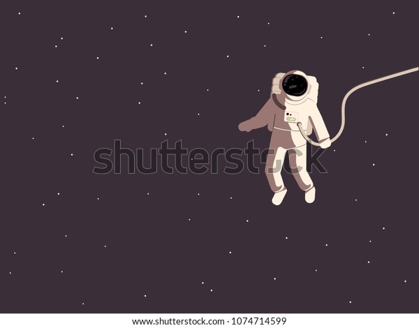 Astronaut in a spacesuit in weightlessness in a free space flat vector illustration