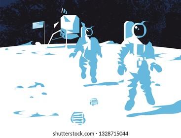 Astronaut stand on the lunar (moon) man on the moon vector illustration