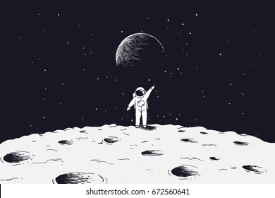 Astronaut stand on surface of Moon and welcomes us.Science theme.Vector illustration