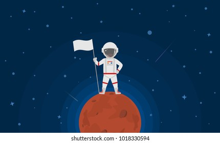 astronaut standing on mars planet with flag
