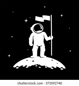 Astronaut Standing On The Planet With Flag Vector Illustration
