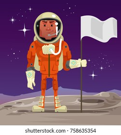 Astronaut standing on planet and holding flag. Vector cartoon illustration