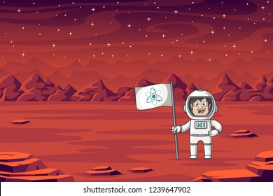 An astronaut stands with flag on Mars