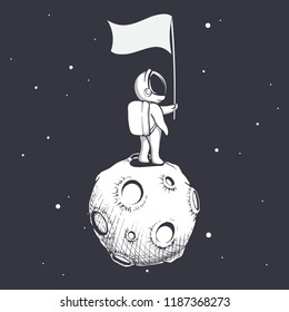 Astronaut stands on Moon and holds a flag.Space vector illustration
