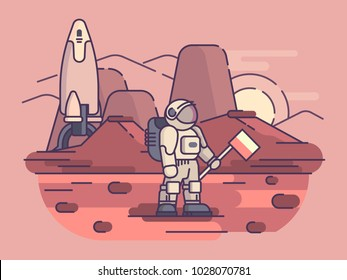 Astronaut stands on surface of planet with flag. Vector illustration