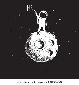 astronaut stay on planet or Moon and welcomes us.Prints vector illustration.Funny spaceman