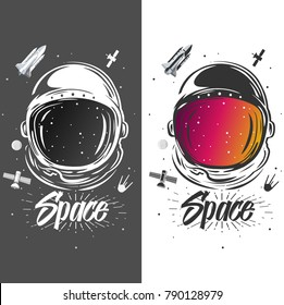 Astronaut suit art. Space illustration. Symbol of space travel, scientific research. Astronaut t-shirt design. Spaceman exploring new planets