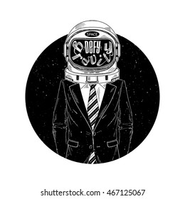 astronaut in suit, defy the gravity, concept illustration, t-shirt print
