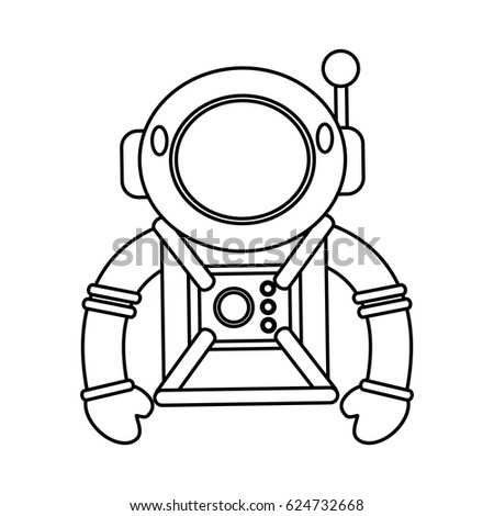 Astronaut Suit Helmet Space Outline Stock Vector Royalty Free