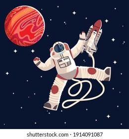 astronaut in suit and helmet uniform space exploration vector illustration