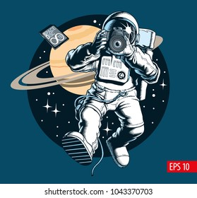 Astronaut taking a photo in space. Digital camera and memory card. Saturn planet and stars on background. Space tourist. Vector illustration.