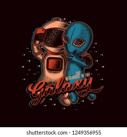 Astronaut taking a selfie with the aliens. Original vector illustration in retro style.
