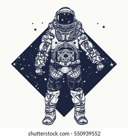 Astronaut tattoo. Cosmonaut in deep space triangular style and t-shirt design.