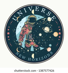 Astronaut tattoo and t-shirt design. Universe, new horizons slogan. Spaceman. Symbol of science, astronomy, education