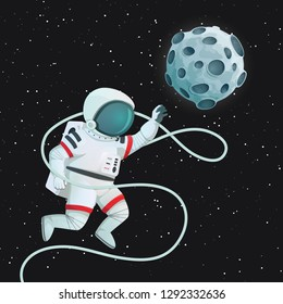 Astronaut with tether flying with one hand outstretched reaching for the Moon. Vector poster, card. Dark space and stars in the background. Exploration, travel, aspiration concept.
