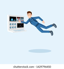Astronaut training flat vector illustration. Cosmonaut pressing button on spaceship control panel cartoon character. Spaceman floating in zero gravity, outer space mission isolated clipart