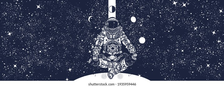 Astronaut in universe. Spaceman in a lotus pose. Humanity studies Mars planet. Symbol of study of galaxies, interstellar flights, search for inhabited worlds. Black and white surreal graphic