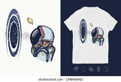 Astronaut and universe. Symbol of knowledge, studying, science. Print for t-shirts and another, trendy apparel design