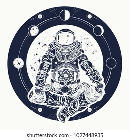 Astronaut and Universe t-shirt design. Spaceman silhouette sitting in lotus pose of yoga tattoo. Symbol of meditation, harmony, yoga