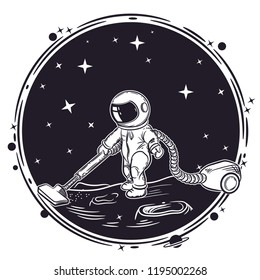The astronaut vacuums the planet. Vector illustration
