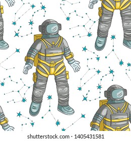 Astronaut vector seamless pattern. Cosmos cartoon illustrations. Spaceman flying in the other space. Universe galaxy background.