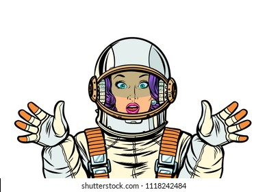 astronaut woman surprised pop art. retro vector illustration kitsch vintage drawing