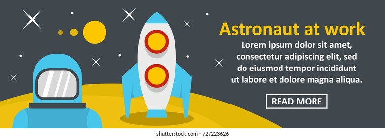 Astronaut at work banner horizontal concept. Flat illustration of astronaut at work banner horizontal vector concept for web design