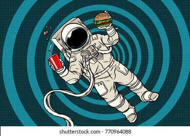Astronaut in zero gravity with fast food. Pop art retro vector illustration