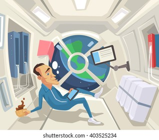 Astronaut in zero gravity. Vector flat cartoon illustration