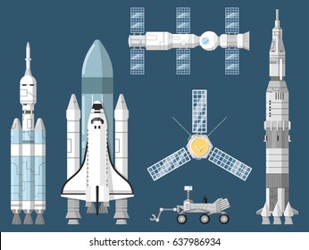 Astronautics and space technology isolated set. Space shuttle, cosmic rocket, spaceship, orbital satellite, mars rover, space station vector illustration. Spacecraft collection in flat design.