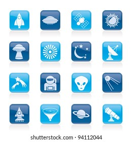 astronautics, space and universe icons - vector icon set