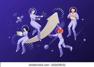 Astronauts with a big arrow in an open space. Vector metaphoric illustration of boosting or growing business. Modern people characters with gadgets.