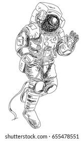 Astronauts characters set Hand drawn style. human spaceman.