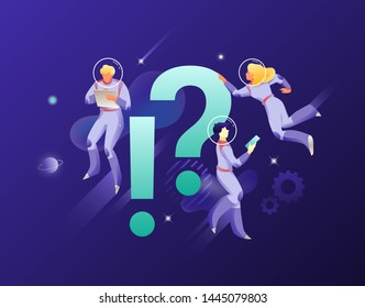 Astronauts with exclamation and question marks. Vector metaphor of FAQ, query, finding solution. Business univerce theme.