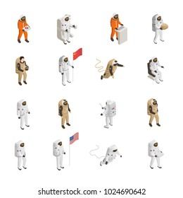 Astronauts explorers in spacesuit figures isometric icons collection with spacemen floating in outer space isolated vector illustration