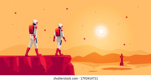 Astronauts explorers walking on mars surface ground mountain landscape with space starship rocket vehicle on launchpad. Future red planet colonisation exploration mission. Starman building colony.