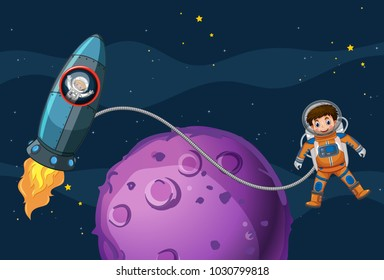 Astronauts flying in the space illustration