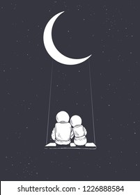 Astronauts girl and boy sits on swing and look to universe.Hand drawn style.Space vector illustration