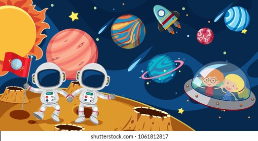 Astronauts and kids in UFO illustration