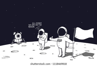 astronauts landed on the moon and put the flag.Vector illustration