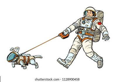 astronauts man and dog isolated on white background. Pop art retro vector illustration kitsch vintage drawing