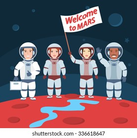 astronauts on mars. welcome to mars.international group with flag. space man
