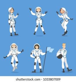Astronauts people set. Men and women in costumes.