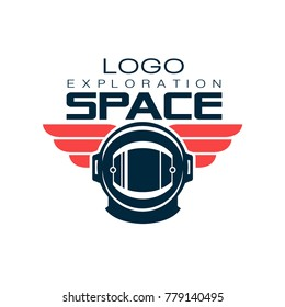 Astronaut's protective helmet logo. Space exploration. Cosmic journey. Creative label in flat style. Vector design for t-shirt print, emblem, sticker or mobile app