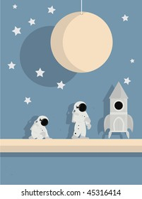 Astronauts and ship on star background - vector version