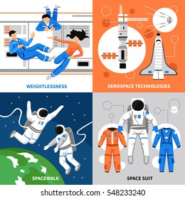 Astronauts in space and aerospace technologies 2x2 design concept on colorful backgrounds flat isolated vector illustration