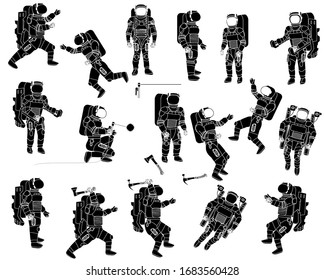Astronauts in spacesuits work during spacewalk. Men and women in orbit. Welder in space. Astronaut equipment. Isolated icons silhouettes collection.